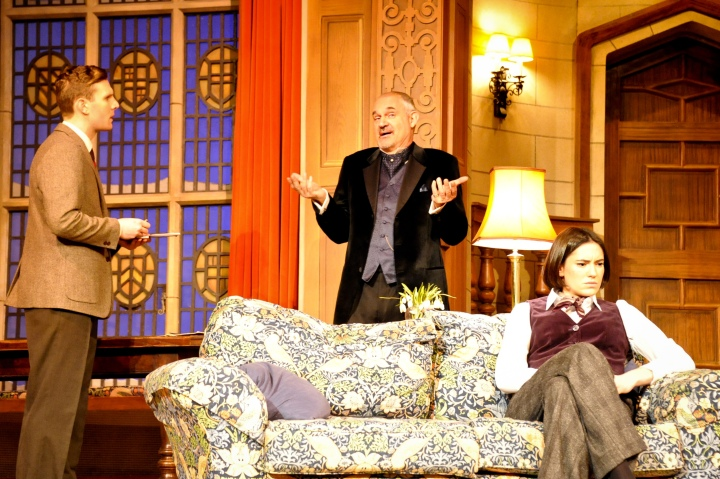 Lewis Collier (Sgt Trotter), Gregory Cox (Mr Paravicini) and Amy Dowham (Miss Casewell) in The Mousetrap. Credit Liza Maria Dawson (10).jpg